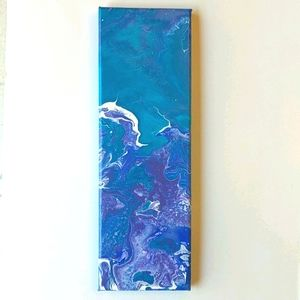 Original painting teal purple white abstract